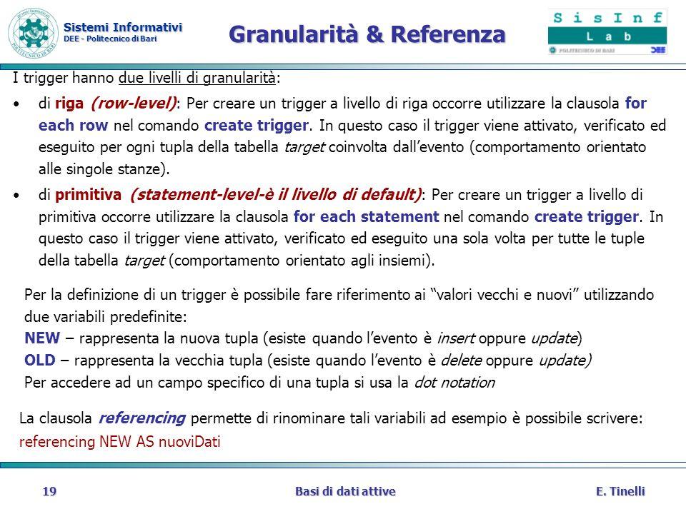 Sistemi Informativi DEE - Politecnico di Bari E. TinelliBasi di dati attive19 Granularità & Referenza I trigger hanno due livelli di granularità: di r