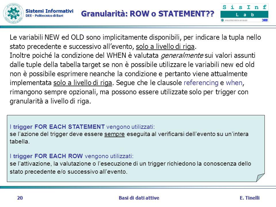 Sistemi Informativi DEE - Politecnico di Bari E. TinelliBasi di dati attive20 Granularità: ROW o STATEMENT?? Le variabili NEW ed OLD sono implicitamen