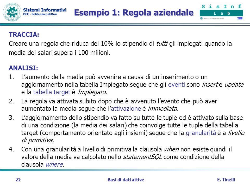 Sistemi Informativi DEE - Politecnico di Bari E. TinelliBasi di dati attive22 Esempio 1: Regola aziendale TRACCIA: Creare una regola che riduca del 10