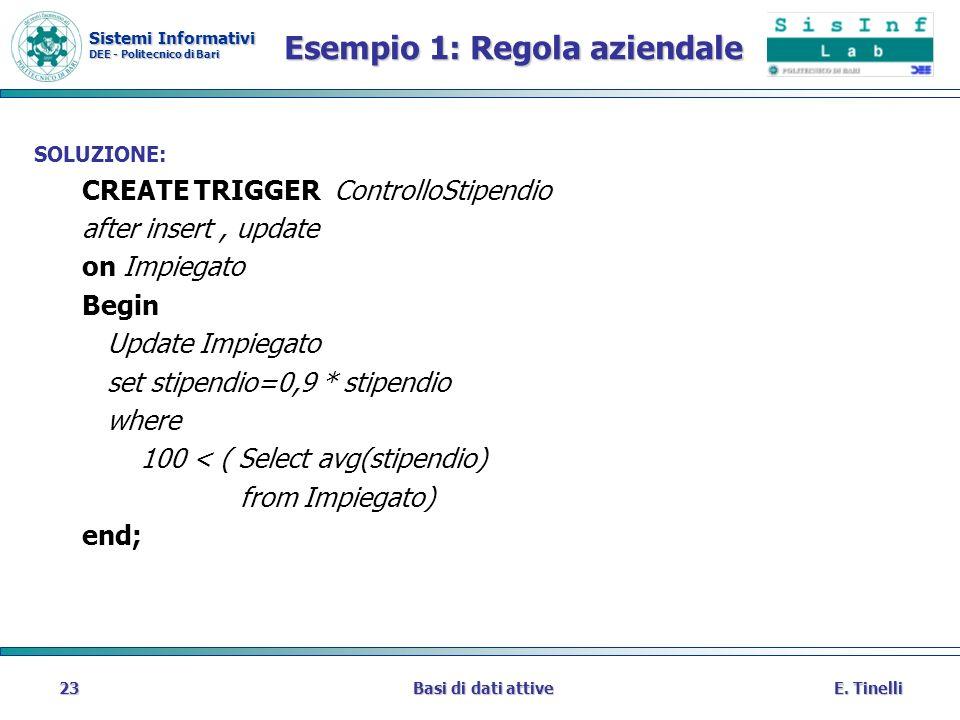Sistemi Informativi DEE - Politecnico di Bari E. TinelliBasi di dati attive23 Esempio 1: Regola aziendale SOLUZIONE: CREATE TRIGGER ControlloStipendio