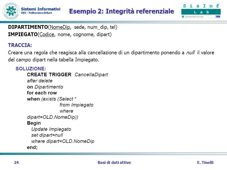 Sistemi Informativi DEE - Politecnico di Bari E. TinelliBasi di dati attive24 Esempio 2: Integrità referenziale DIPARTIMENTO(NomeDip, sede, num_dip, t