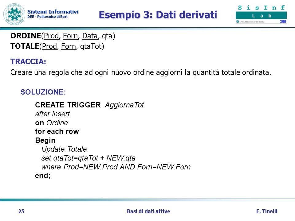 Sistemi Informativi DEE - Politecnico di Bari E. TinelliBasi di dati attive25 Esempio 3: Dati derivati ORDINE(Prod, Forn, Data, qta) TOTALE(Prod, Forn