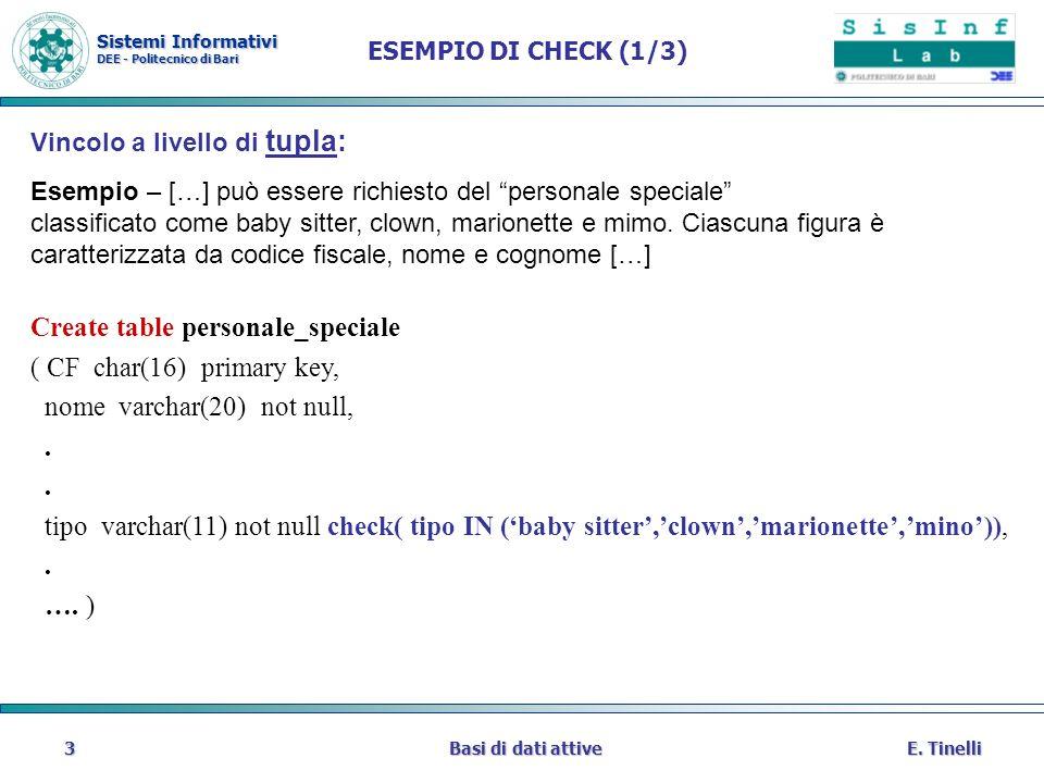 Sistemi Informativi DEE - Politecnico di Bari E. TinelliBasi di dati attive3 ESEMPIO DI CHECK (1/3) Vincolo a livello di tupla: Esempio – […] può esse