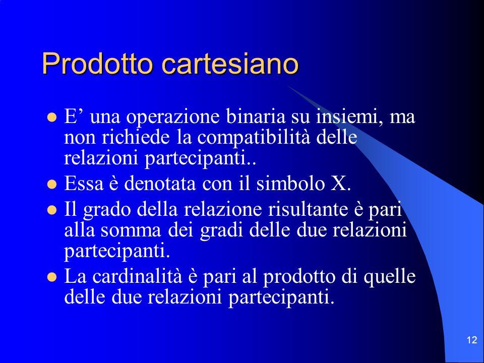 12 Prodotto cartesiano E una operazione binaria su insiemi, ma non richiede la compatibilità delle relazioni partecipanti.. Essa è denotata con il sim