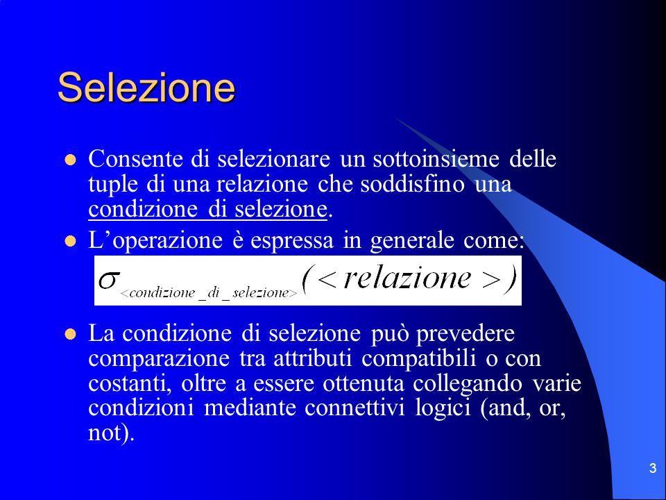 3 Selezione Consente di selezionare un sottoinsieme delle tuple di una relazione che soddisfino una condizione di selezione.