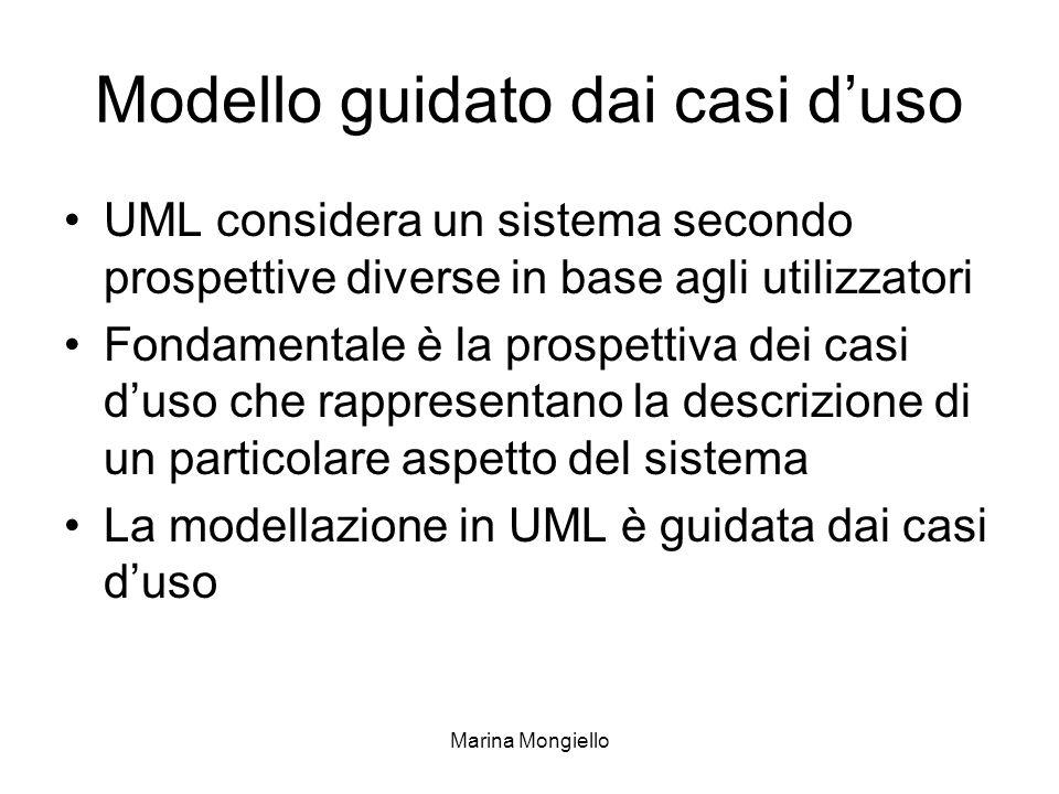 Marina Mongiello Modello guidato dai casi duso UML considera un sistema secondo prospettive diverse in base agli utilizzatori Fondamentale è la prospe