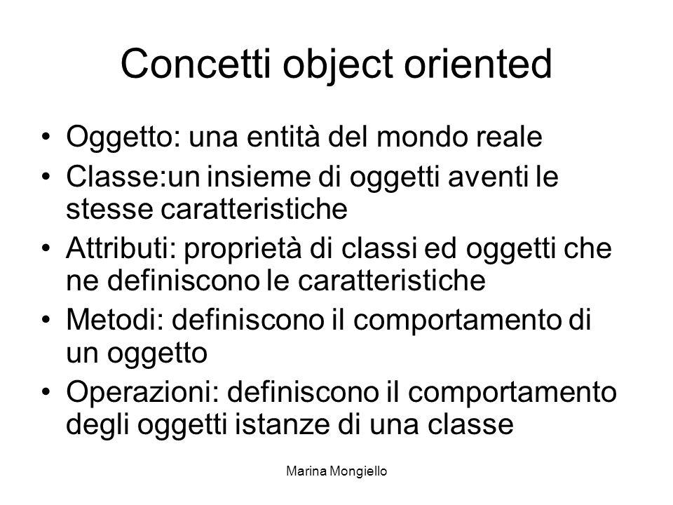 Marina Mongiello Concetti object oriented Oggetto: una entità del mondo reale Classe:un insieme di oggetti aventi le stesse caratteristiche Attributi: