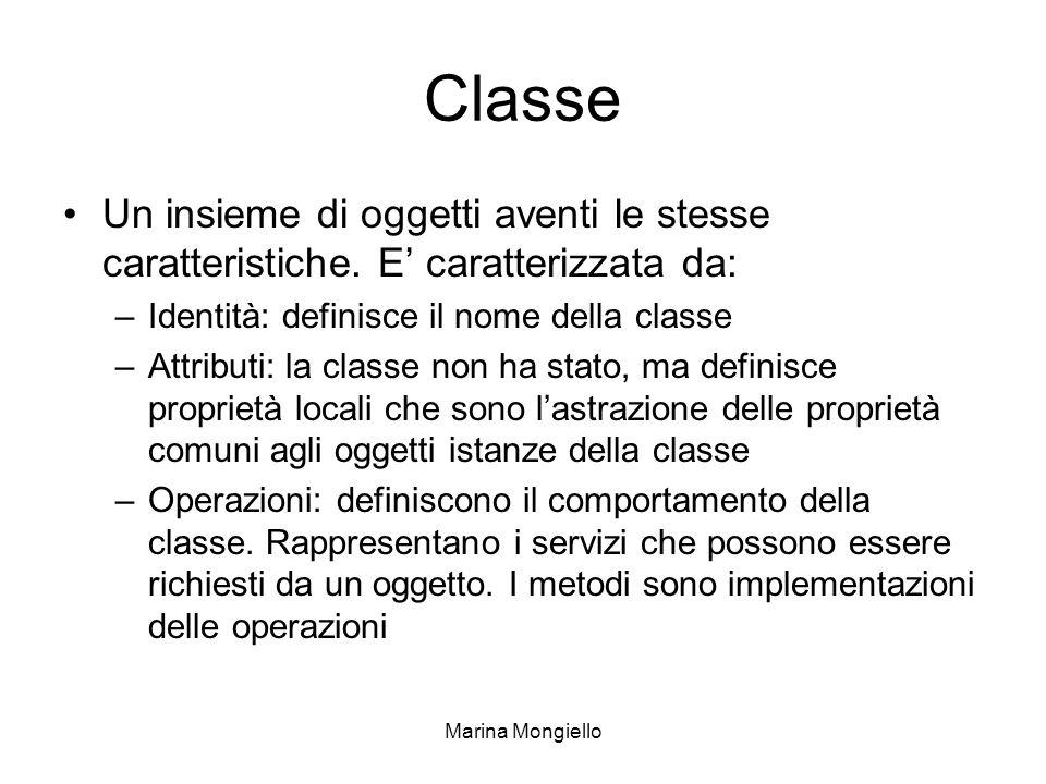 Marina Mongiello Classe Un insieme di oggetti aventi le stesse caratteristiche. E caratterizzata da: –Identità: definisce il nome della classe –Attrib