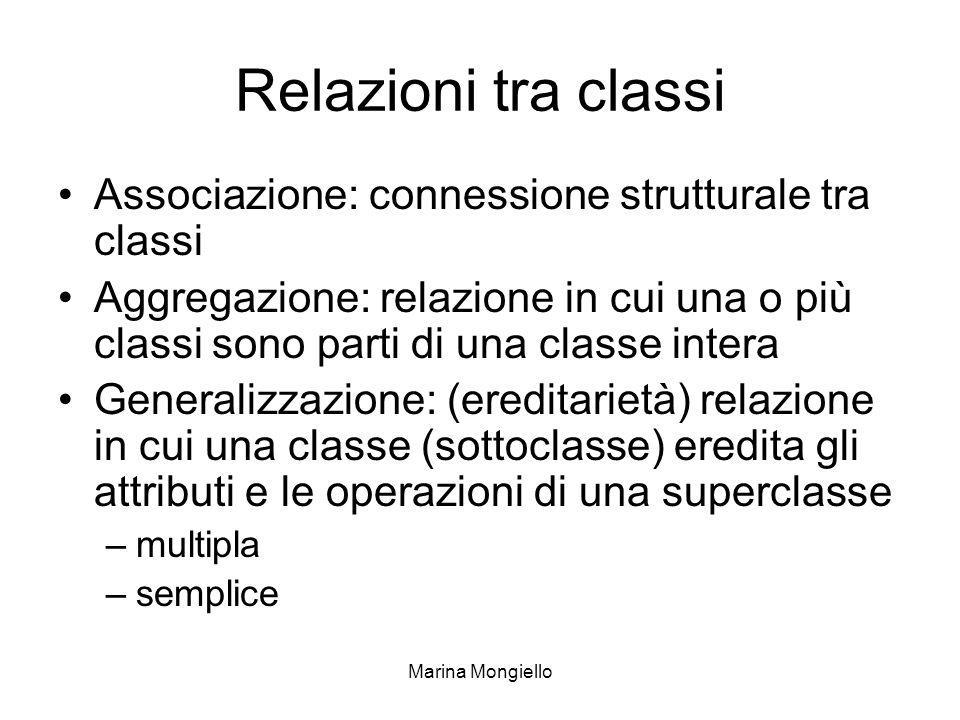 Marina Mongiello Relazioni tra classi Associazione: connessione strutturale tra classi Aggregazione: relazione in cui una o più classi sono parti di u