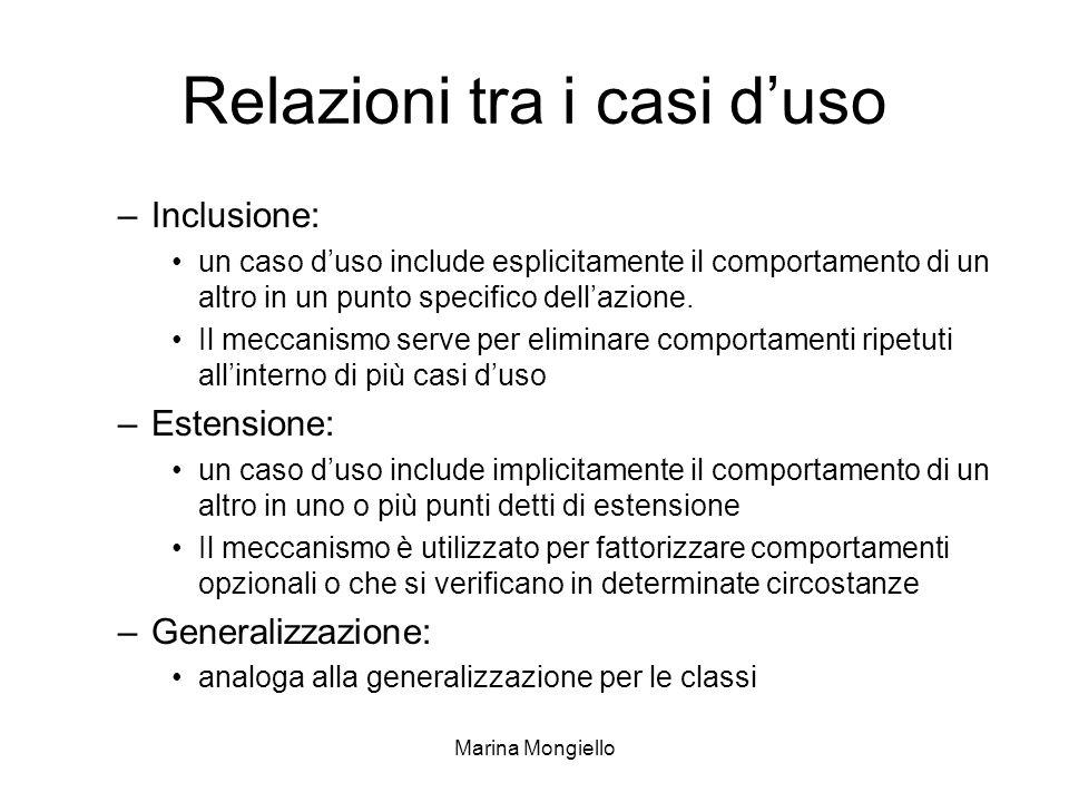 Marina Mongiello Relazioni tra i casi duso –Inclusione: un caso duso include esplicitamente il comportamento di un altro in un punto specifico dellazi