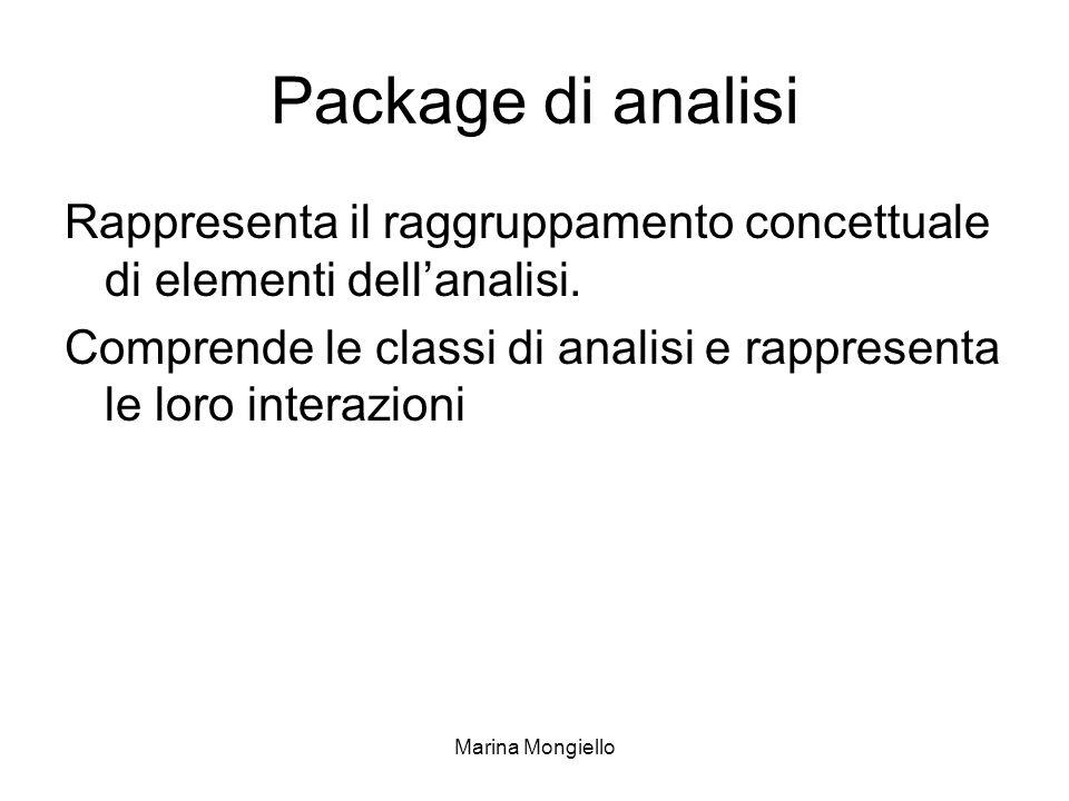 Marina Mongiello Package di analisi Rappresenta il raggruppamento concettuale di elementi dellanalisi. Comprende le classi di analisi e rappresenta le