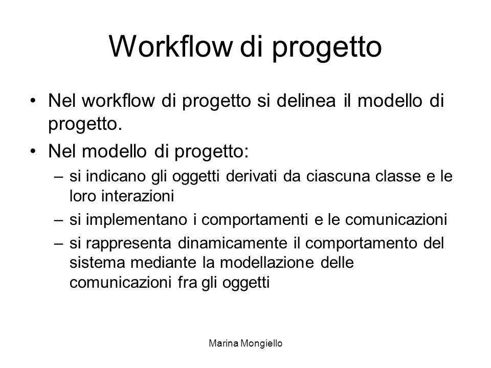 Marina Mongiello Workflow di progetto Nel workflow di progetto si delinea il modello di progetto. Nel modello di progetto: –si indicano gli oggetti de