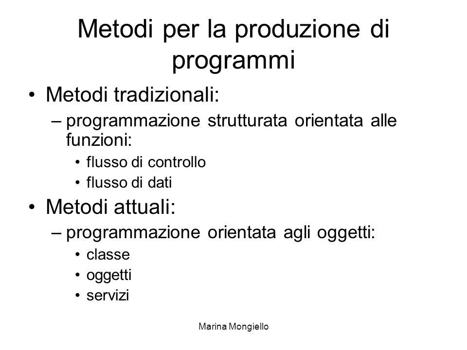 Marina Mongiello Metodi per la produzione di programmi Metodi tradizionali: –programmazione strutturata orientata alle funzioni: flusso di controllo f