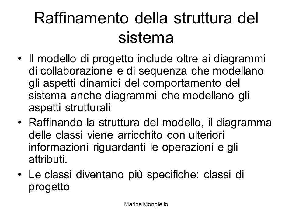Marina Mongiello Raffinamento della struttura del sistema Il modello di progetto include oltre ai diagrammi di collaborazione e di sequenza che modell