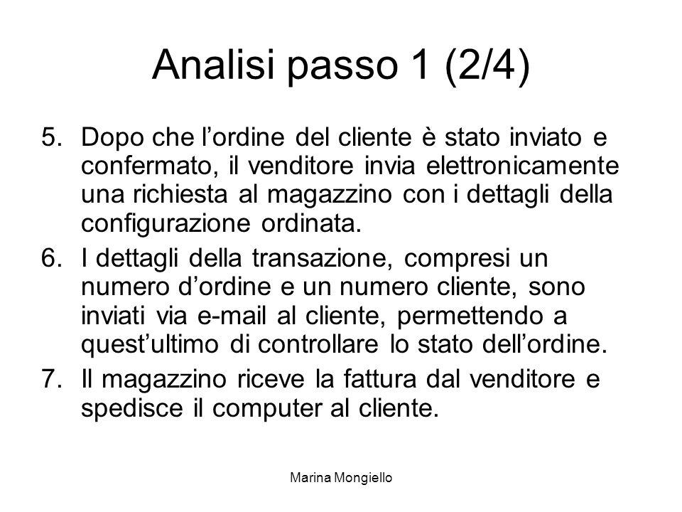 Marina Mongiello Analisi passo 1 (2/4) 5.Dopo che lordine del cliente è stato inviato e confermato, il venditore invia elettronicamente una richiesta