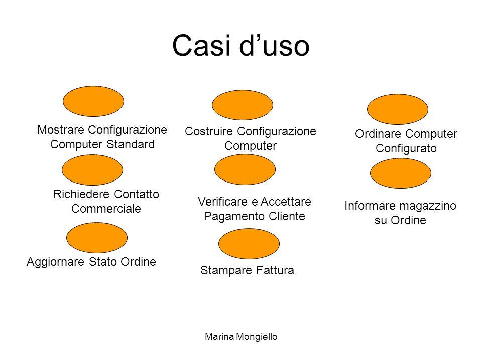 Marina Mongiello Casi duso Informare magazzino su Ordine Mostrare Configurazione Computer Standard Verificare e Accettare Pagamento Cliente Aggiornare