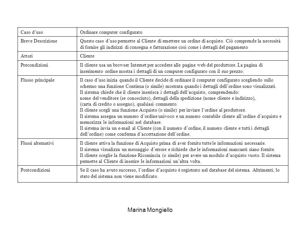 Marina Mongiello Caso dusoOrdinare computer configurato Breve DescrizioneQuesto caso duso permette al Cliente di emettere un ordine di acquisto. Ciò c