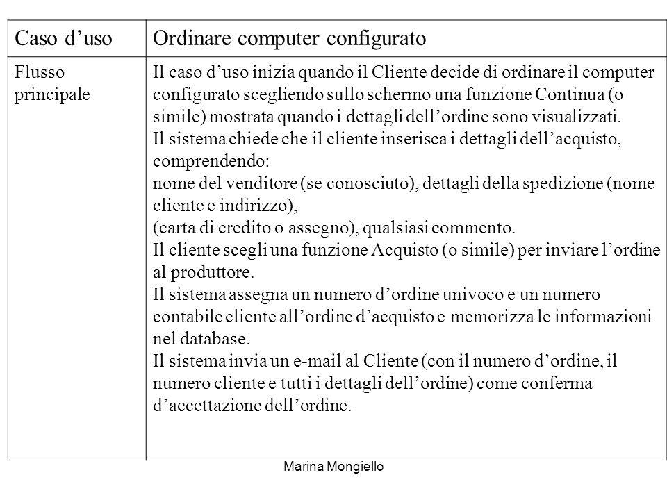 Marina Mongiello Caso dusoOrdinare computer configurato Flusso principale Il caso duso inizia quando il Cliente decide di ordinare il computer configu