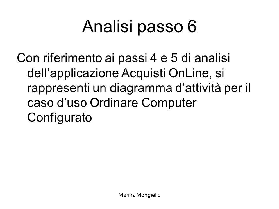 Marina Mongiello Analisi passo 6 Con riferimento ai passi 4 e 5 di analisi dellapplicazione Acquisti OnLine, si rappresenti un diagramma dattività per