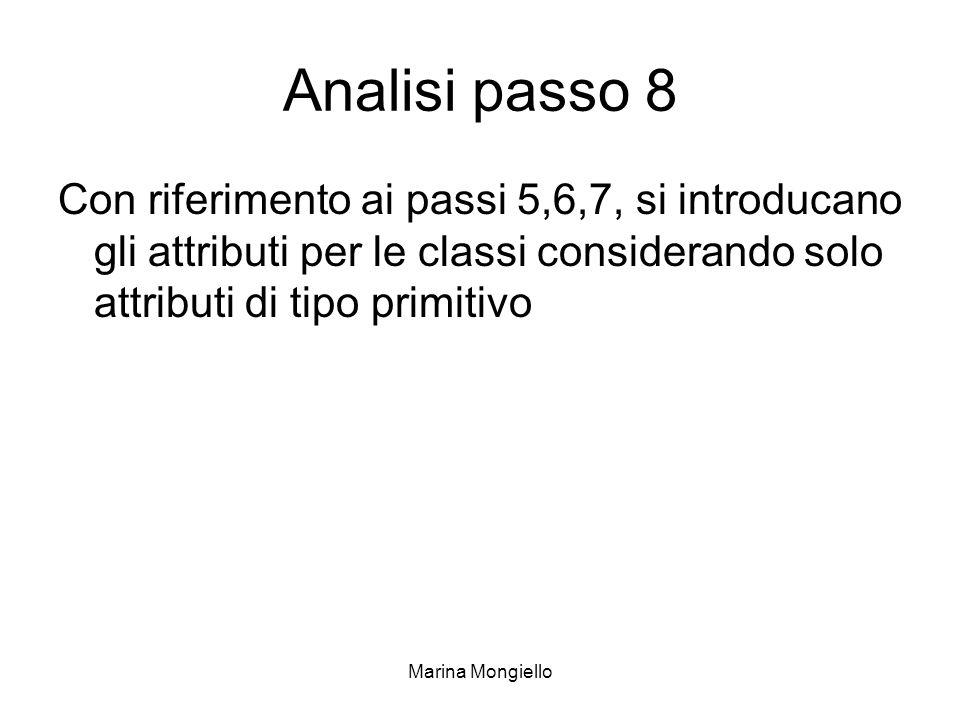 Marina Mongiello Analisi passo 8 Con riferimento ai passi 5,6,7, si introducano gli attributi per le classi considerando solo attributi di tipo primit