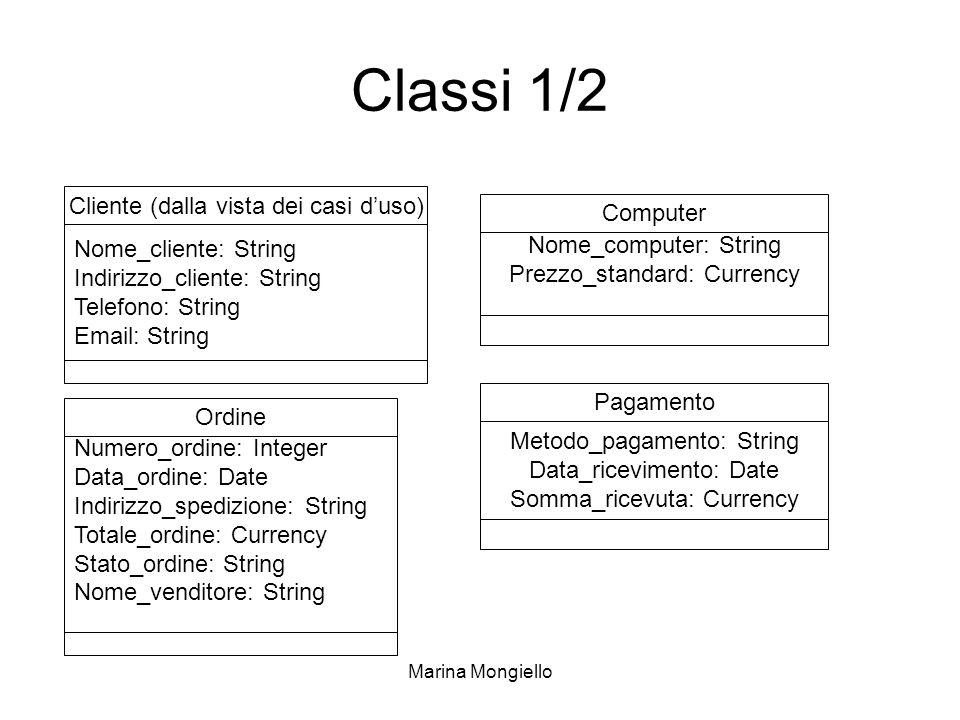 Marina Mongiello Classi 1/2 Cliente (dalla vista dei casi duso) Computer Ordine Nome_cliente: String Indirizzo_cliente: String Telefono: String Email: