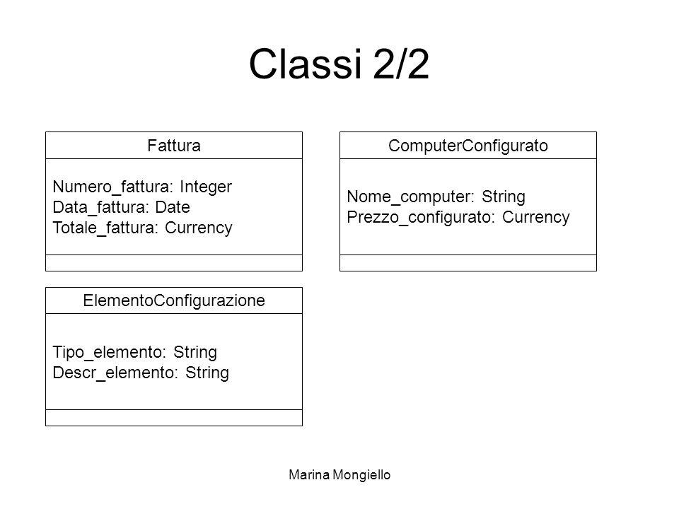 Marina Mongiello Classi 2/2 Fattura Numero_fattura: Integer Data_fattura: Date Totale_fattura: Currency ComputerConfigurato Nome_computer: String Prez