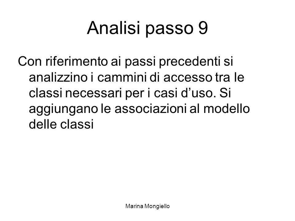Marina Mongiello Analisi passo 9 Con riferimento ai passi precedenti si analizzino i cammini di accesso tra le classi necessari per i casi duso. Si ag