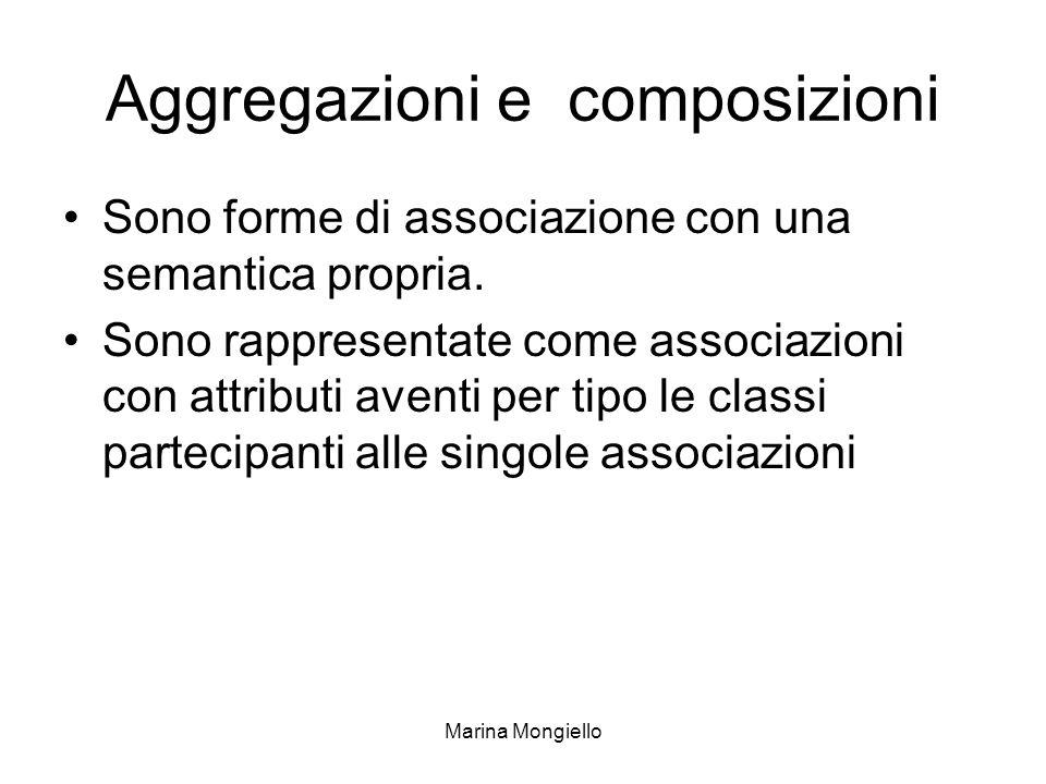 Marina Mongiello Aggregazioni e composizioni Sono forme di associazione con una semantica propria. Sono rappresentate come associazioni con attributi