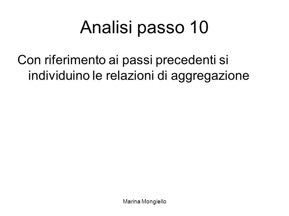 Marina Mongiello Analisi passo 10 Con riferimento ai passi precedenti si individuino le relazioni di aggregazione