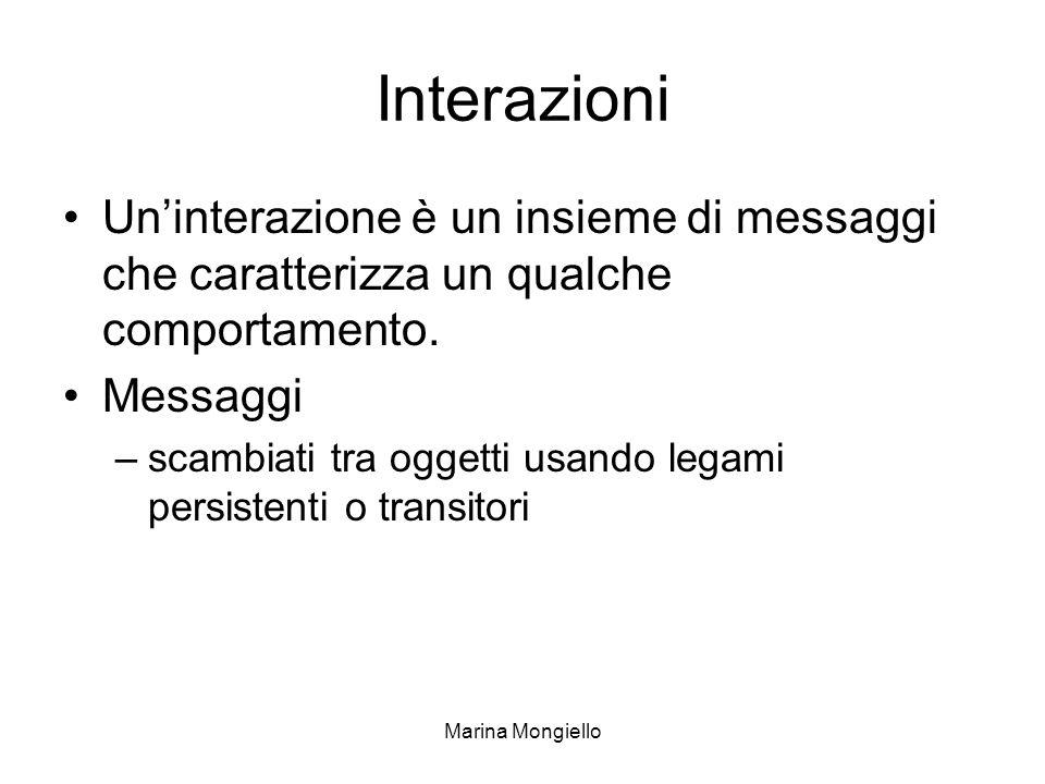 Marina Mongiello Interazioni Uninterazione è un insieme di messaggi che caratterizza un qualche comportamento. Messaggi –scambiati tra oggetti usando