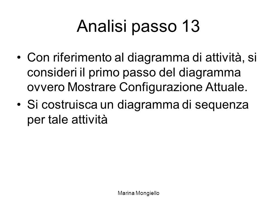 Marina Mongiello Analisi passo 13 Con riferimento al diagramma di attività, si consideri il primo passo del diagramma ovvero Mostrare Configurazione A