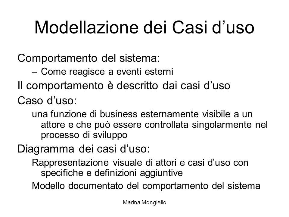 Marina Mongiello Modellazione dei Casi duso Comportamento del sistema: –Come reagisce a eventi esterni Il comportamento è descritto dai casi duso Caso