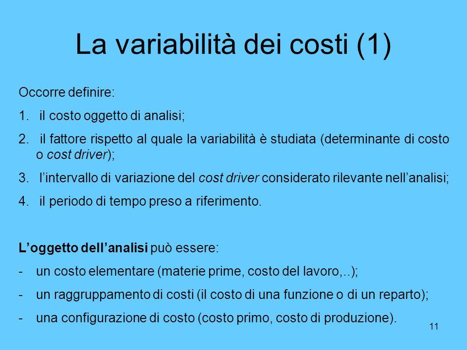 11 La variabilità dei costi (1) Occorre definire: 1. il costo oggetto di analisi; 2. il fattore rispetto al quale la variabilità è studiata (determina