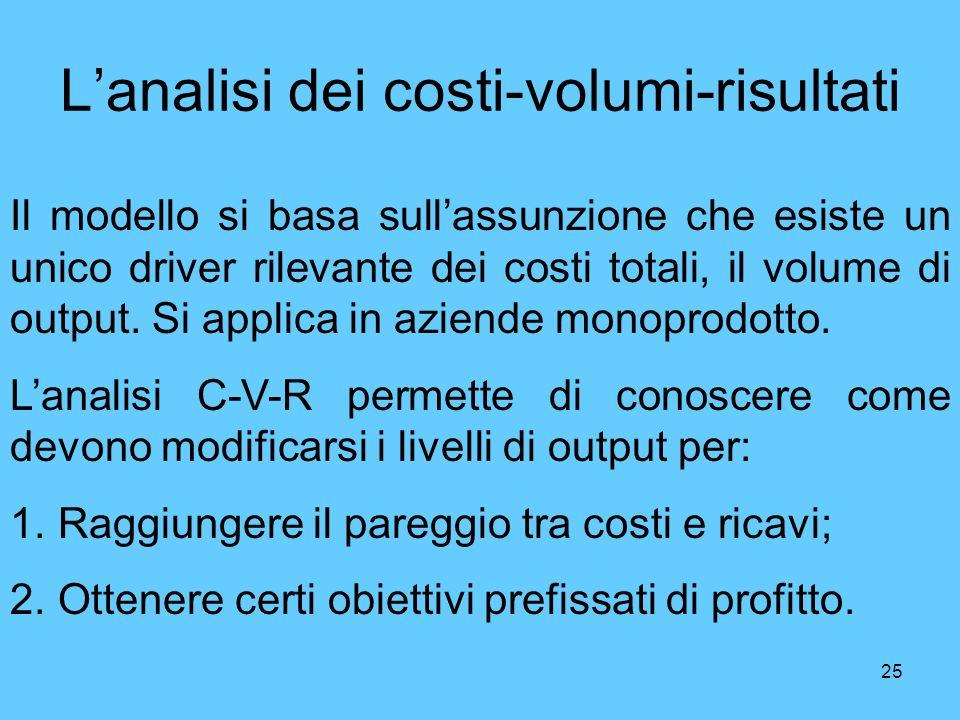 25 Lanalisi dei costi-volumi-risultati Il modello si basa sullassunzione che esiste un unico driver rilevante dei costi totali, il volume di output. S