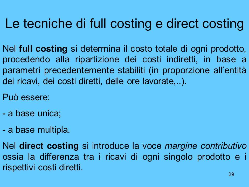 29 Le tecniche di full costing e direct costing Nel full costing si determina il costo totale di ogni prodotto, procedendo alla ripartizione dei costi
