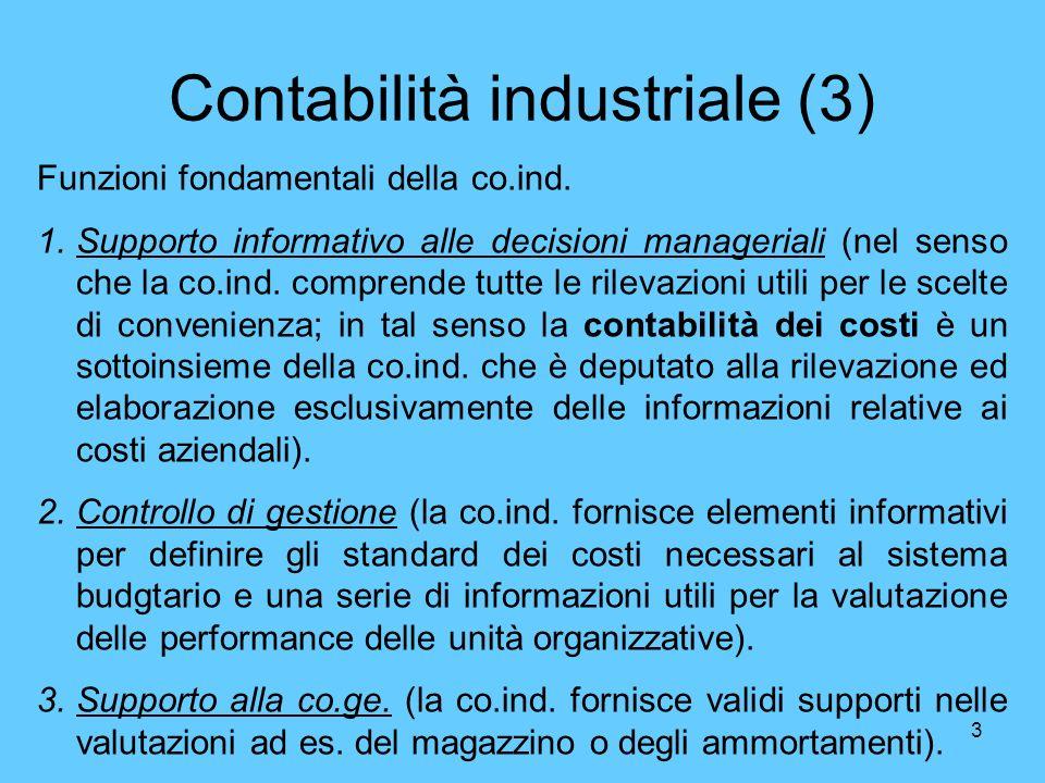 3 Contabilità industriale (3) Funzioni fondamentali della co.ind. 1.Supporto informativo alle decisioni manageriali (nel senso che la co.ind. comprend