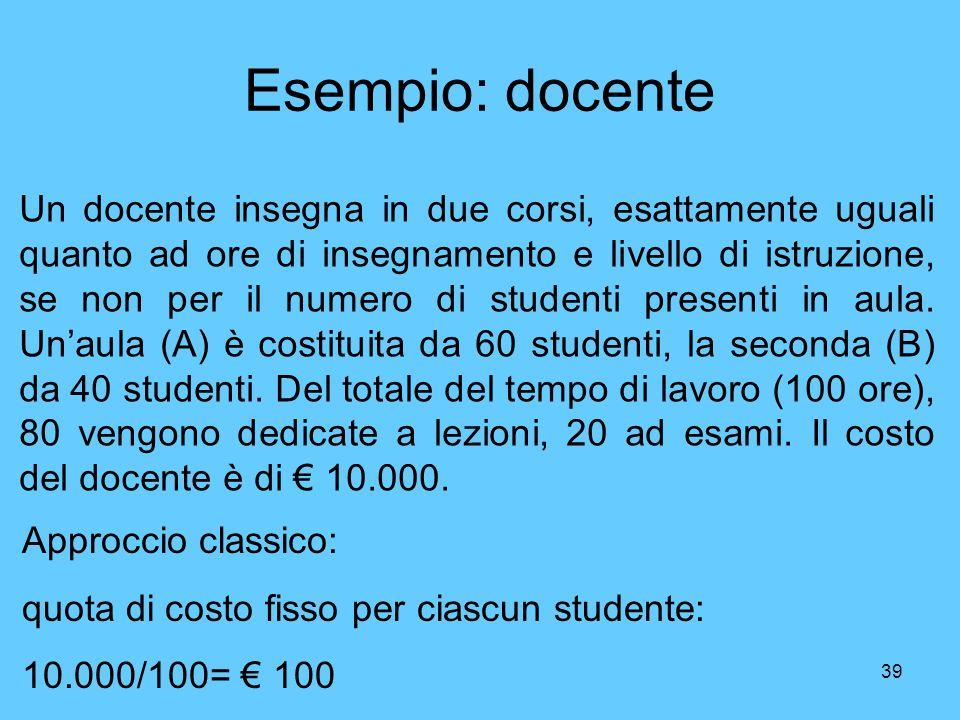 39 Esempio: docente Un docente insegna in due corsi, esattamente uguali quanto ad ore di insegnamento e livello di istruzione, se non per il numero di