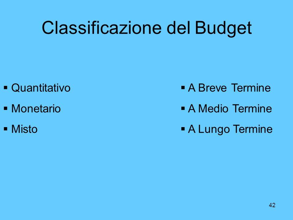 42 Classificazione del Budget Quantitativo Monetario Misto A Breve Termine A Medio Termine A Lungo Termine