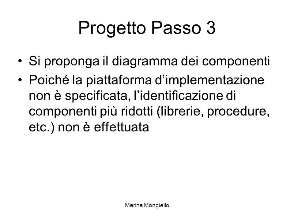 Marina Mongiello Progetto Passo 3 Si proponga il diagramma dei componenti Poiché la piattaforma dimplementazione non è specificata, lidentificazione di componenti più ridotti (librerie, procedure, etc.) non è effettuata