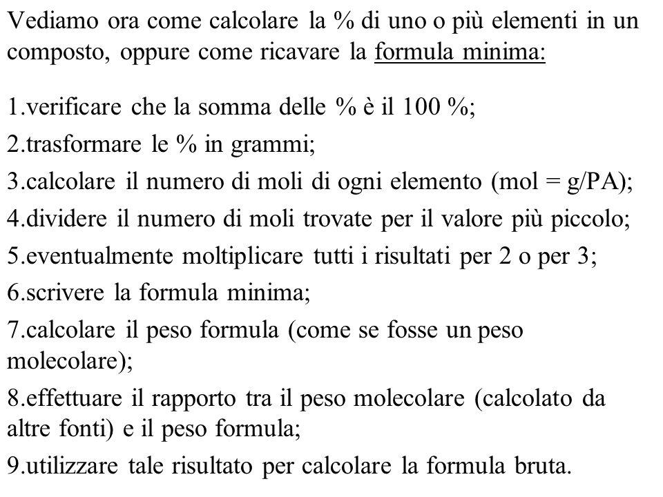 Vediamo ora come calcolare la % di uno o più elementi in un composto, oppure come ricavare la formula minima: 1.verificare che la somma delle % è il 100 %; 2.trasformare le % in grammi; 3.calcolare il numero di moli di ogni elemento (mol = g/PA); 4.dividere il numero di moli trovate per il valore più piccolo; 5.eventualmente moltiplicare tutti i risultati per 2 o per 3; 6.scrivere la formula minima; 7.calcolare il peso formula (come se fosse un peso molecolare); 8.effettuare il rapporto tra il peso molecolare (calcolato da altre fonti) e il peso formula; 9.utilizzare tale risultato per calcolare la formula bruta.