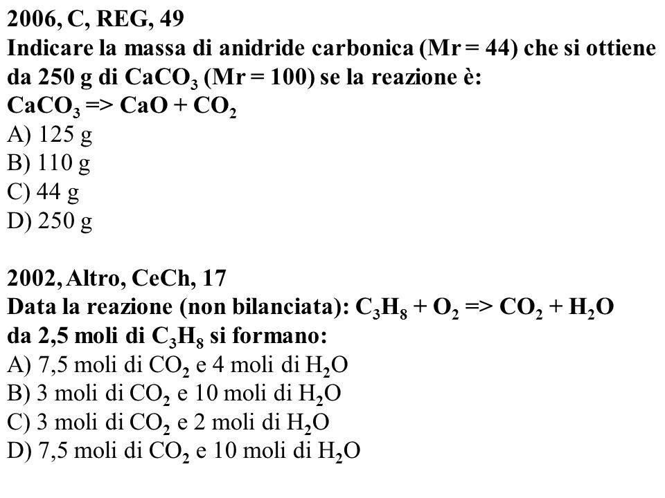 2006, C, REG, 49 Indicare la massa di anidride carbonica (Mr = 44) che si ottiene da 250 g di CaCO 3 (Mr = 100) se la reazione è: CaCO 3 => CaO + CO 2 A) 125 g B) 110 g C) 44 g D) 250 g 2002, Altro, CeCh, 17 Data la reazione (non bilanciata): C 3 H 8 + O 2 => CO 2 + H 2 O da 2,5 moli di C 3 H 8 si formano: A) 7,5 moli di CO 2 e 4 moli di H 2 O B) 3 moli di CO 2 e 10 moli di H 2 O C) 3 moli di CO 2 e 2 moli di H 2 O D) 7,5 moli di CO 2 e 10 moli di H 2 O