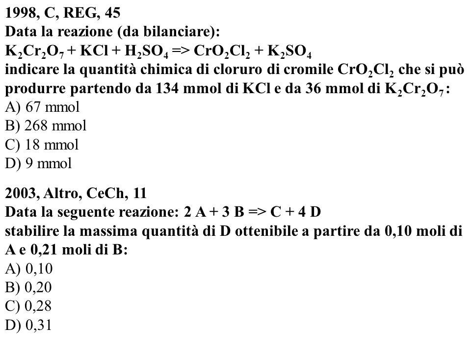 1998, C, REG, 45 Data la reazione (da bilanciare): K 2 Cr 2 O 7 + KCl + H 2 SO 4 => CrO 2 Cl 2 + K 2 SO 4 indicare la quantità chimica di cloruro di c
