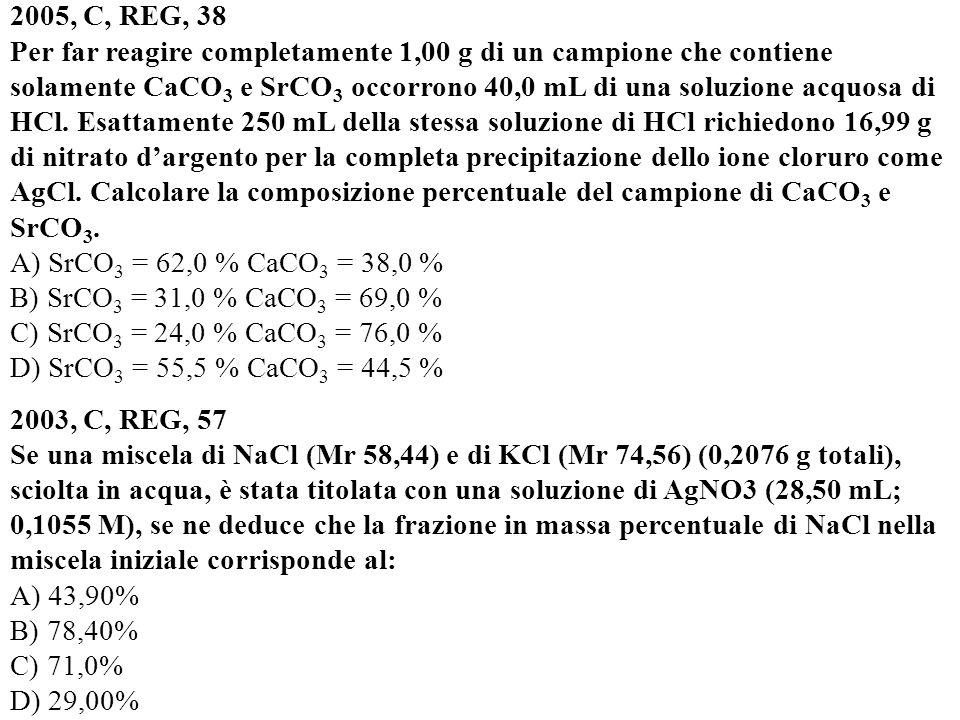 2005, C, REG, 38 Per far reagire completamente 1,00 g di un campione che contiene solamente CaCO 3 e SrCO 3 occorrono 40,0 mL di una soluzione acquosa di HCl.