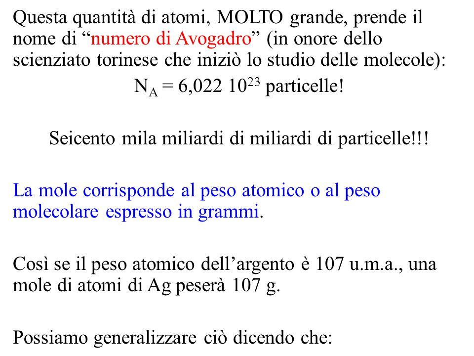 Specie Il cui peso (atomico o molecolare) è: la cui mole corrisponde a: e che contiene: H1,0 u.m.a.1,0 g6,02 10 23 atomi H2H2 2,0 u.m.a.2,0 g2*6,02 10 23 atomi 6,02 10 23 molecole H2OH2O18,0 u.m.a.18,0 g3*6,02 10 23 atomi 6,02 10 23 molecole NaCl58,5 u.m.a.58,5 g6,02 10 23 unità formula È possibile mettere in relazione la massa in grammi con il peso atomico o molecolare e con il numero di moli: