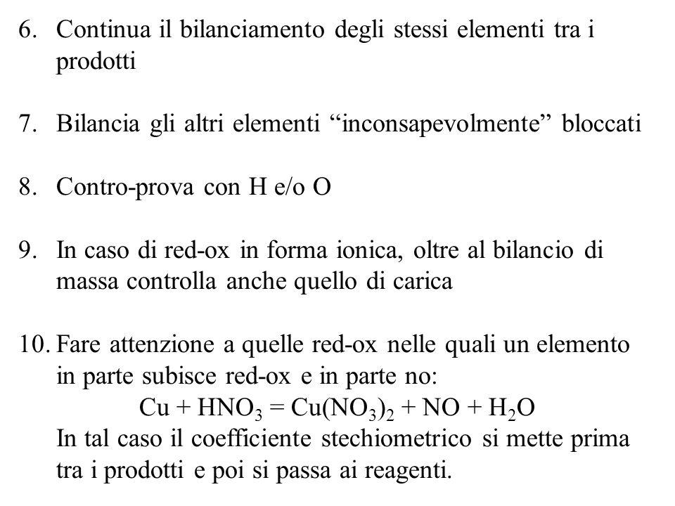 6.Continua il bilanciamento degli stessi elementi tra i prodotti 7.Bilancia gli altri elementi inconsapevolmente bloccati 8.Contro-prova con H e/o O 9