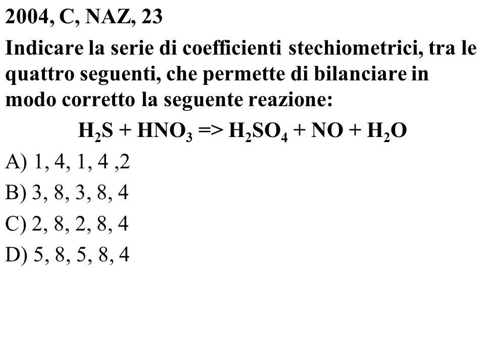 2004, C, NAZ, 23 Indicare la serie di coefficienti stechiometrici, tra le quattro seguenti, che permette di bilanciare in modo corretto la seguente re