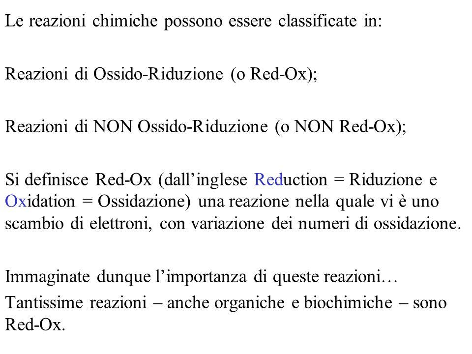 Le reazioni chimiche possono essere classificate in: Reazioni di Ossido-Riduzione (o Red-Ox); Reazioni di NON Ossido-Riduzione (o NON Red-Ox); Si defi