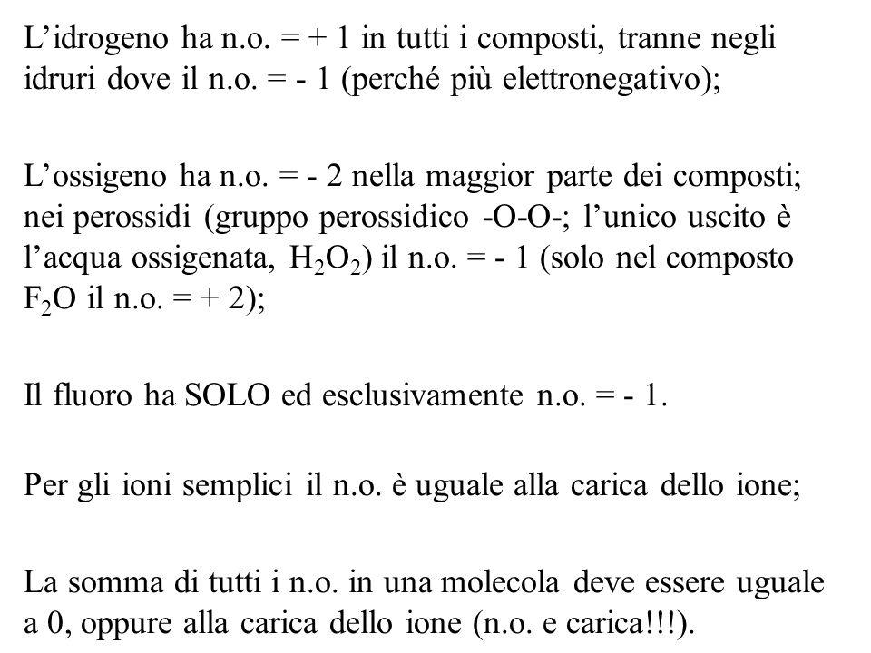 Lidrogeno ha n.o. = + 1 in tutti i composti, tranne negli idruri dove il n.o. = - 1 (perché più elettronegativo); Lossigeno ha n.o. = - 2 nella maggio