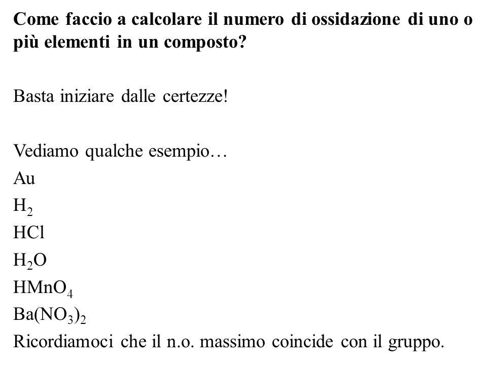 Come faccio a calcolare il numero di ossidazione di uno o più elementi in un composto? Basta iniziare dalle certezze! Vediamo qualche esempio… Au H2H2