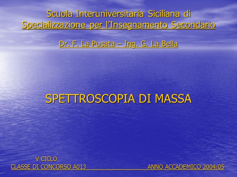 Scuola Interuniversitaria Siciliana di Specializzazione per lInsegnamento Secondario Dr. F. La Pusata – Ing. G. La Bella SPETTROSCOPIA DI MASSA V CICL